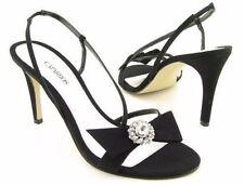 New CAPARROS Women Black Silk Open Toe High Heel Slingback Sandal Shoe Sz 9.5 M