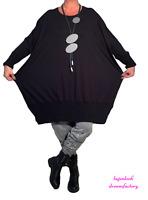 AKH-Lagenlook Materialmix-Pullover-Kleid Ballon-Long-Pulli-Tunika 48 50 52 54 56
