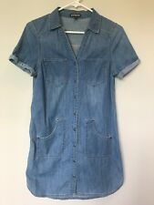 Express Blue Jean Denim Dress Snap Button Front Women's Size XS
