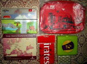 6 x Emirates Items Lonely Planet Kids Packs Bag & Folder Snack Pack Cards Mat