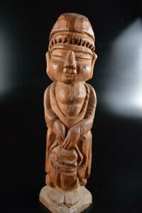 #7088: Japanese Wooden Person -shaped ORNAMENTS object art work Buddhist art