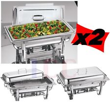 2 LARGE chafing dish chaffing warmer tray lid cater buffet party 8.5L catering