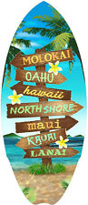 Hawaiian Mini Surfboard Wood Surf Hawaii Islands Sign Aloha Tiki Home Decor NIB