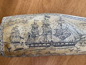 Scrimshaw Art Resin Carving Whaler Topaz off Marquesas Isle France 1840 J Allen