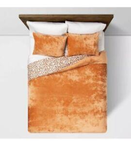 Opalhouse Rust Reversible Velvet Leopard Print KING Duvet Cover Set 3pc