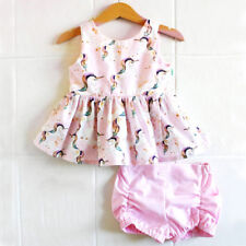 verano bebé recién nacido niña unicornio Suéter Vestido Pantalones Cortos