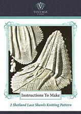 Vintage knitting pattern-how to make 2 shetland lace baby christening shawls