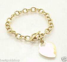 """7.5"""" Engravable Heart Tag Rolo Charm Bracelet Real 14K Yellow Gold Toggle Clasp"""
