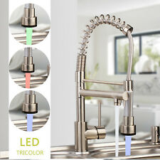 Brushed Nickel LED Swivel Pull Out Spray Kitchen Taps 2 Function Mixer Faucet