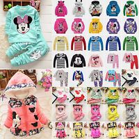 Kids Baby Girls Boys Cartoon Mickey Minnie Outfits Set Hoodie Coat Jacket Tops