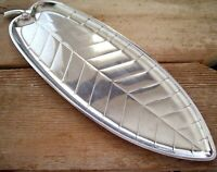 Long Vintage Silver Plate Tray, Leaf Serving Tray, Elongated Silver Leaf Platter