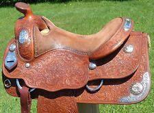 "George RIOS (Blue Ribbon) 16"" Custom STERLING Silver Show SADDLE GORGEOUS Tooled"