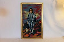 "Vintage Completed Needlepoint Portrait Victorian Man In Blue Colorful 23"" x 13.5"
