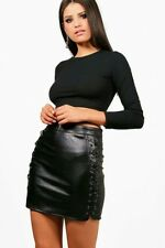 Boohoo Womens Aerin Lace Up Side Leather Look Skirt