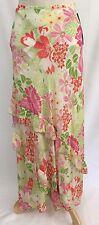 New Rafaella Peony Pink Orange Floral Long Lime Green Skirt Ruffle sz 8