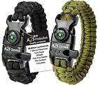 Paracord Bracelet Survival -2pcs- Compass Fire Starter Emergency Knife & Whistle