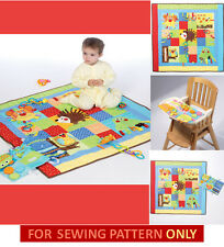 SEWING PATTERN! MAKE BABY FLOOR OR HIGH CHAIR PLAY MATS! HEDGEHOG~OWL APPLIQUES