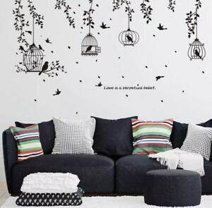New Black Bird With Cages Butterfly Flowers Decals Room Decoration Wall Stickers