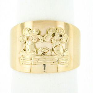 14k Yellow Gold Polished Wide Cigar Band Ring w/ Two Cute Cows Portrait w/ Fence