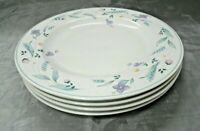 "Pfaltzgraff APRIL Set of 4-10 1/4"" Dinner Plates Floral Stoneware Aqua USA euc"