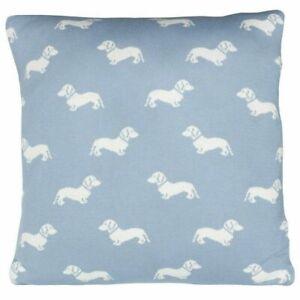 Emily Bond Dachshund Cushion 45cm Blue Cream New Designer Dog Print