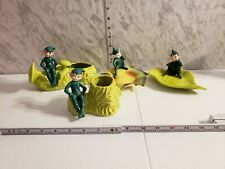 Vintage Gilner Green Pixie Lot Plant Holders And Platters