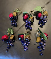 Set Of 6 Fruits Napkin Rings Apples Pears Grapes