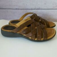 Ariat Strappy Brown Leather Slip-On Slide Sandals Shoes Womens Size 6.5