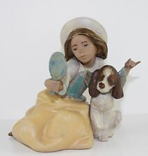 "LLADRO ""WHO'S THE FAIREST"" #2313 FIGURE ~ GIRL, DOG, MIRROR ~ GRES ~ MINT W/BOX"