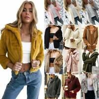 Womens Winter Teddy Bear Fleece Cardigan Short Coat Jackets Loose Jumper Outwear