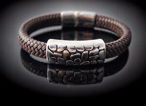 Wide Braid Leather Bracelet with Crocodile Effect Design