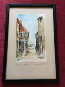 Original Watercolour Of Tin Ghaut Whitby From 1975 Framed.  From A 1920s Photo