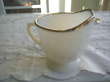 1 FIRE-KING CREAMER IVORY WITH GOLD TRIMS SWIRL PATTERN