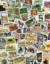 50 Different Wild Animals on Stamps Thematics  *STOCK PICTURE*