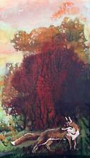 Fox / Trees / Original Watercolour On Cardboard by Sergej Hahonin