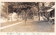 Gunn Lake MI Vintage 1909 Auto~Badger Lodge~Couple's Swing~Lawn Chairs RPPC
