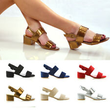 Womens Low Heel Sandals Ladies Back Strap Party Prom Bridal Shoes Size 3-8