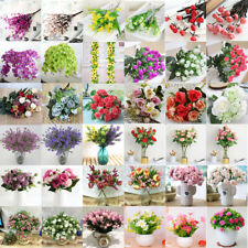 Artificial Succulent Rose Fake Silk Flower Bouquet Home Wedding Floral Decor Lot