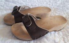 Dr Scholls Vintage AUSTRIA Wood Sole Original Exercise Sandal Slide Dark Brown 5