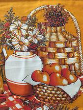VINTAGE 1977 CALENDAR TOWEL FRUIT BASKET FLOWERS GOLD