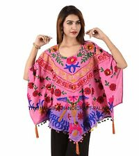 New Indian Suzani Embroidered Tunic Ethnic Hippie Dress Ladies Poncho Plus Size