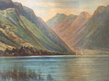 Très Belle Et Grand Peinture Huile Sur Isorel Pierre Antoine Cluzeau Lac Annecy