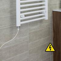 White Heated Towel Rail Radiator 1100x600mm FLAT Bathroom Rad Central Heating @@