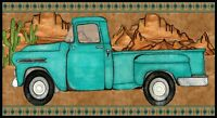 """23"""" Fabric Panel - Blank Red Rock Reflections Turquoise Antique Pick Up Truck"""