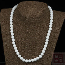 18inch 10mm White Carving Coral Loose Bead Gems knotted necklace