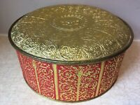 Guildcraft TIN Gold Red PAISLEY New York COOKIE SEWING Embossed VINTAGE Great
