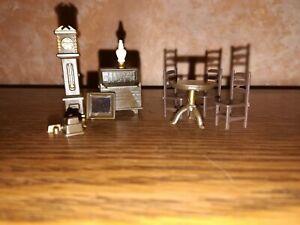 1:48 Dollhouse Diorama Dining Office Set Furniture Plastic 9 pc Micro Mini