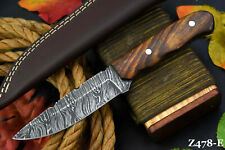 Custom Damascus Steel Hunting Knife Handmade With Walnut Handle (Z478-E)