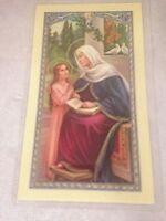 Vtg Prayer to St Anne Religious Catholic Holy Card St Anne w/ Little Child Italy
