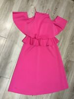 Asos Dress size 12, Bright pink with cold shoulders